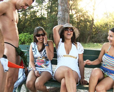 naked guys in funny swimsuits jerking in front of gals