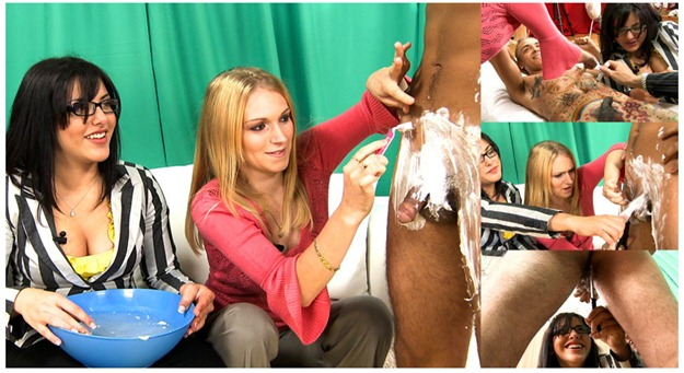 playful clothed gals shaving guy's balls